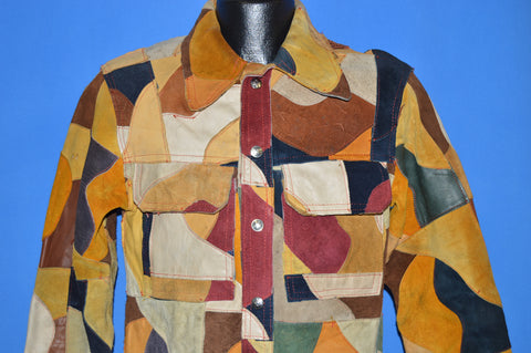 70s Leather Patchwork Trucker Jacket Size 36