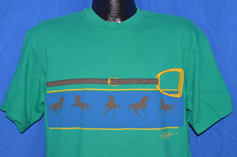 80s Horses Running Equestrian Bridle t-shirt Large