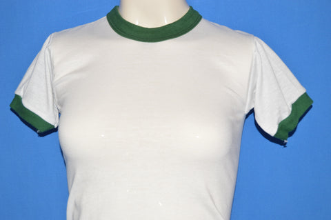 80s Blank White Ringer t-shirt Youth Medium