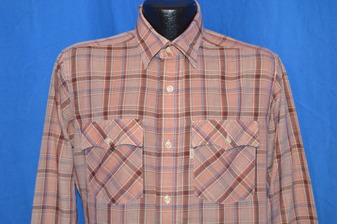 80s Levis Brown Plaid Button Down Shirt Medium