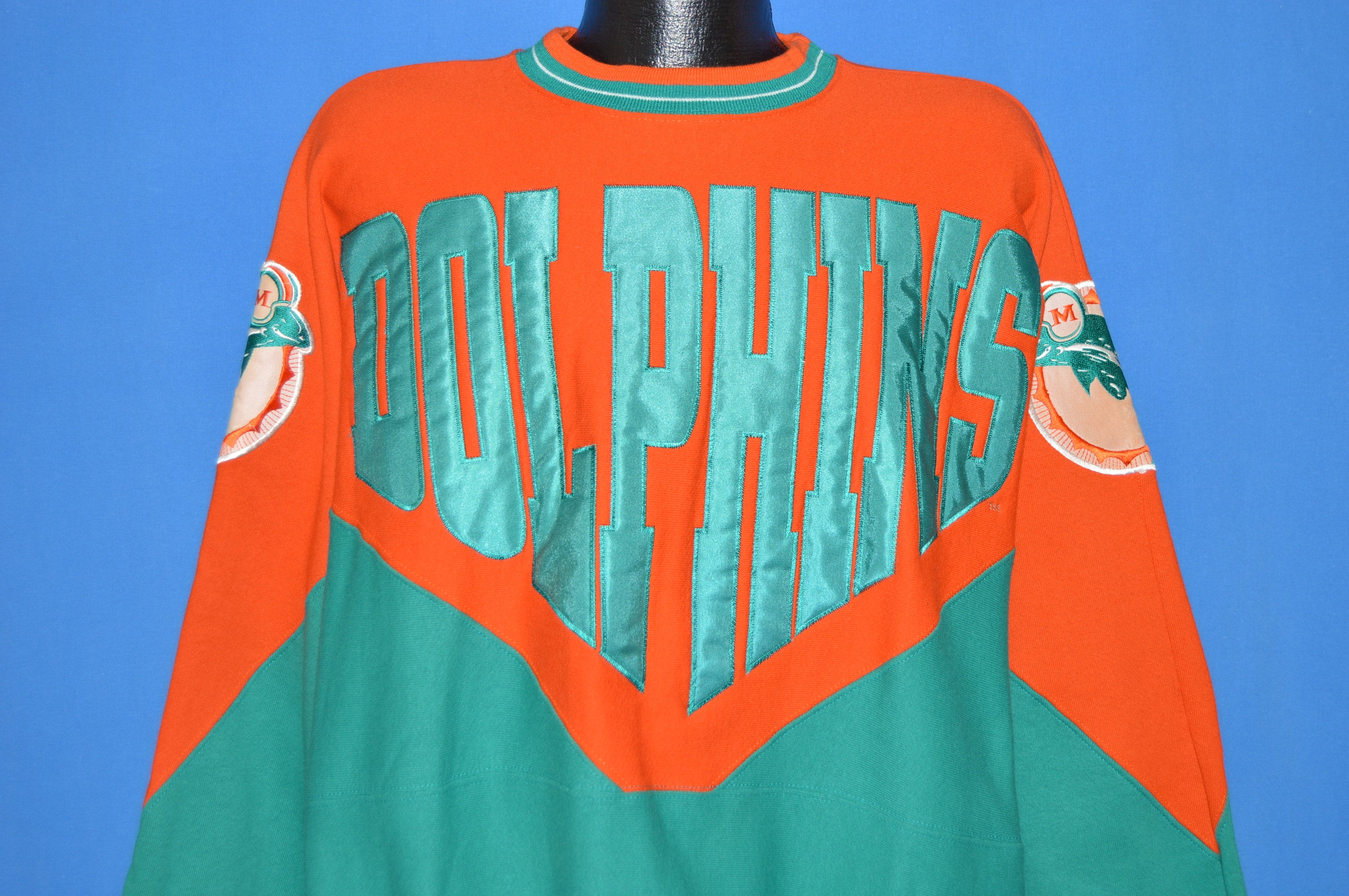 info for ec116 828b7 90s Miami Dolphins Teal Orange Patch Sweatshirt Extra Large ...