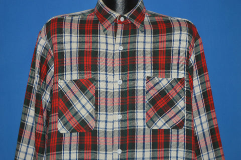 70s Red And White Flannel Workwear Shirt Large