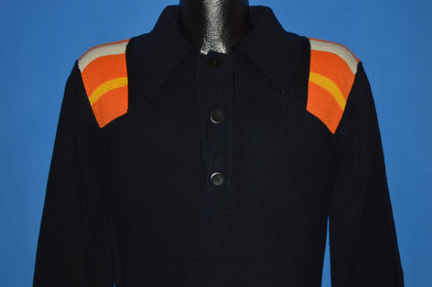 80s Black Striped 3 Button Pullover Sweater Small