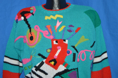 90s Abstract Teal Ugly Sweater Women's Large