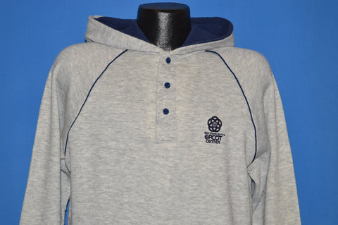 80s Disney Epcot Center Gray Hooded Pullover Sweatshirt Large