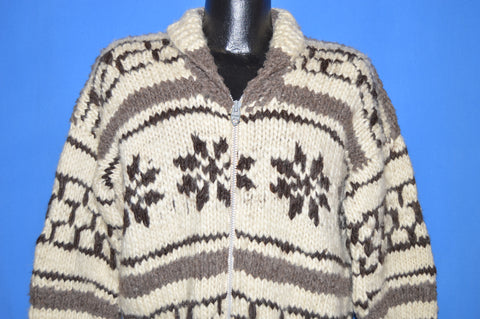 60s Snowflake Cowichan Zip Front Sweater Extra Large