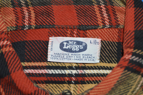 70s Mr. Leggs Brown Black Red Plaid Flannel Shirt Large