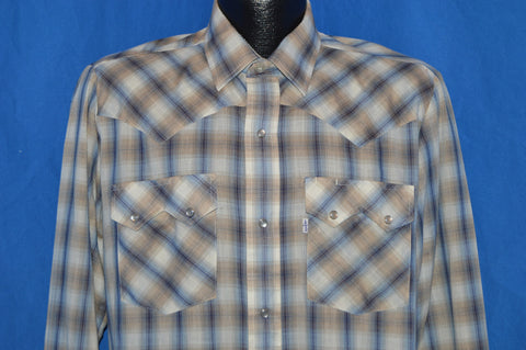 80s Levi's Shadow Plaid Pearl Snap Cowboy Shirt Large