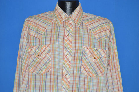 70s Dickson Jenkins Rainbow Plaid Western Shirt Large