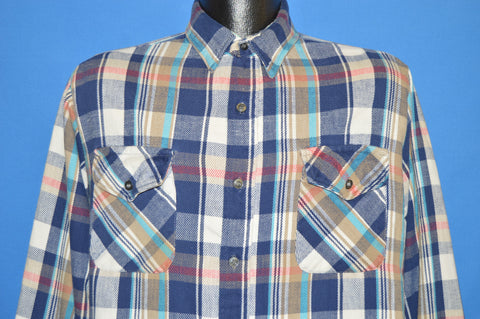 70s The Alaskan Plaid Blue Brown Flannel shirt Large