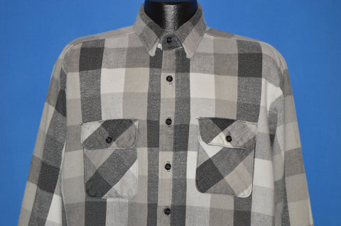 80s Five Brother Black And White Plaid Work Shirt Large
