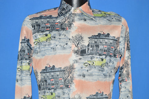 70s Classic Car Desert Town Big Collar Disco shirt Medium