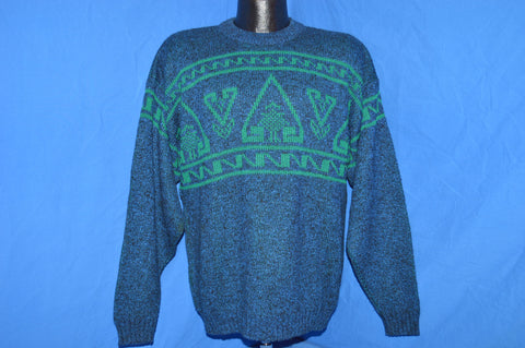 80s Le Tigre Blue Green Geometric Pullover Sweater Large