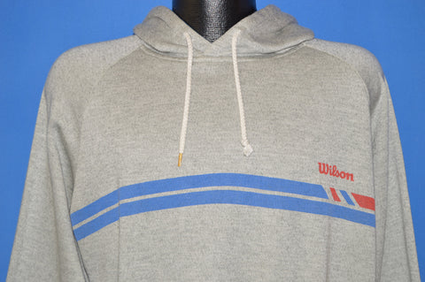 80s Wilson Blue And Gray Raglan Hooded Sweatshirt Large