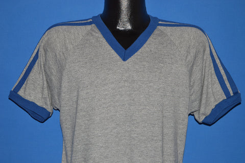 80s Gray Blue Tri Blend Blank Jersey t-shirt Large