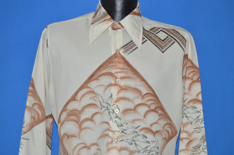 70s Chemise Et Cie Flight Of The Doves Nylon Disco shirt Medium