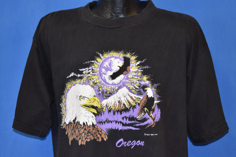 90s Oregon Eagles And Mountains Puffy Paint t-shirt Extra Large
