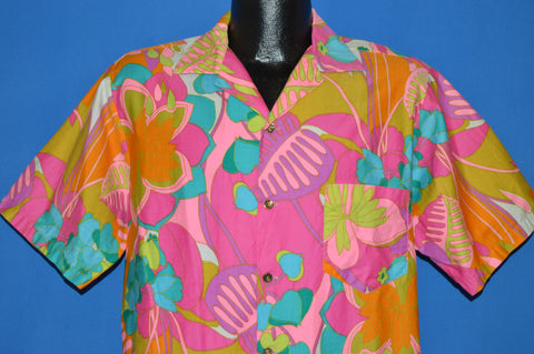 60s Mr Kailua Neon Flowered Hawaiian shirt Large