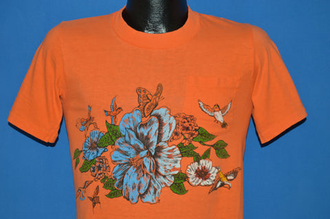 60s Hibiscus Flowers And Birds Pocket Surf t-shirt Small