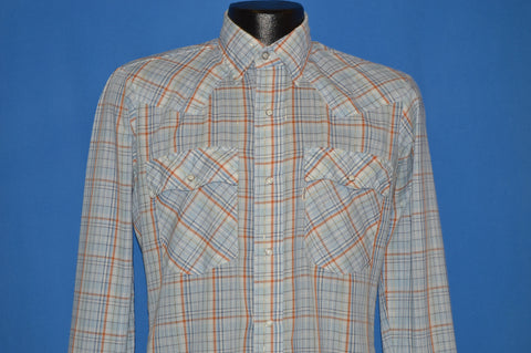 80s Levi's Blue Plaid Western Shirt Small