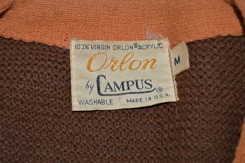 60s Campus Brown Cardigan Sweater Medium