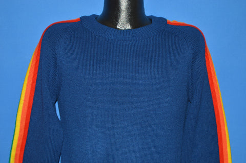 80s Blue Rainbow Striped Sweater Extra Small