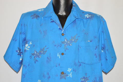 50s Blue Hibiscus Button Loop Hawaiian shirt Extra Large