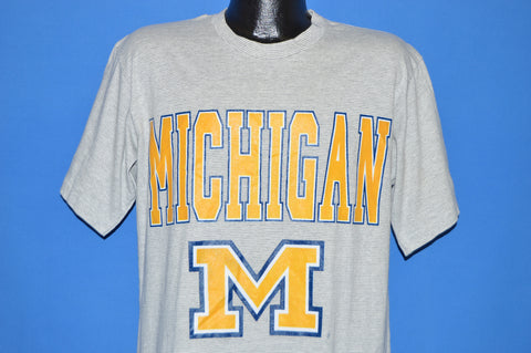 90s Michigan Wolverines Gray Striped t-shirt Large