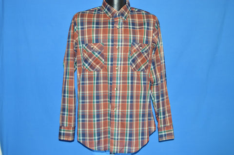 80s Levis Brown Green Plaid Button Down Shirt Large