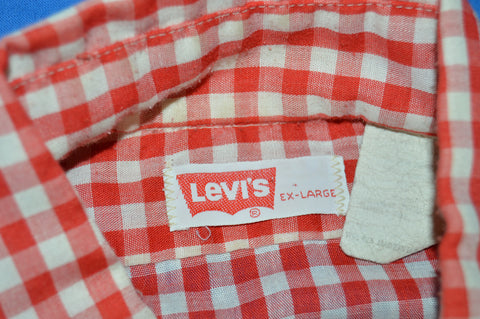 80s Levi's Red White Gingham Shirt Extra Large