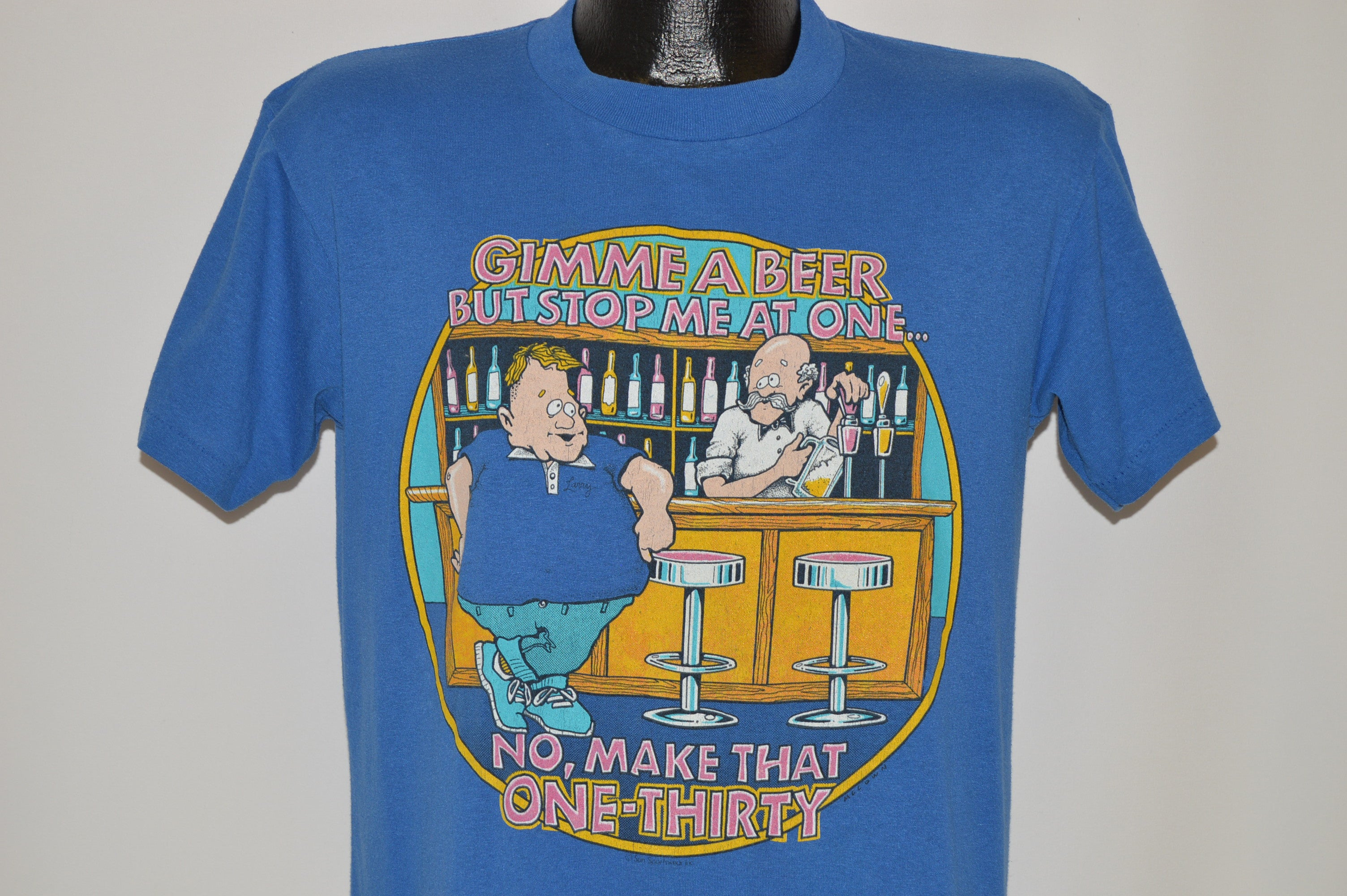 965f6531 80s Gimme A Beer Funny Cartoon t-shirt Medium - The Captains Vintage