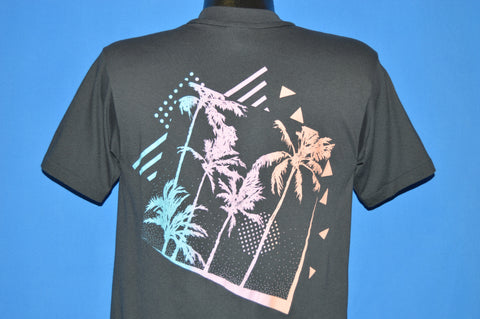 80s Palm Trees Sunset Neon Beach Pocket t-shirt Medium