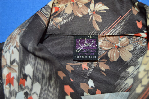 70s Black Flowered Button Down Disco Shirt Large