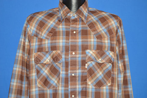 80s Levi's Brown Blue Plaid Pearl Snap Shirt Large