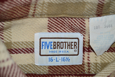 80s Five Brothers Plaid Flannel Men's Work shirt Large