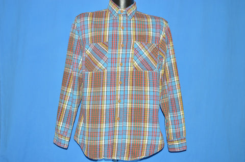 80s Big Mac Striped Flannel Men's Work shirt Large