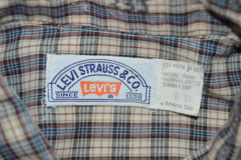 80s Levi's Brown Blue Plaid Shirt Youth Extra Large
