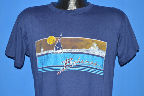 80s Neon Bahamas Sailboat Sunset Horizon t-shirt Medium