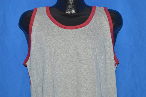 70s Deadstock Gray Maroon Tank Top Sleeveless t-shirt Extra-Large