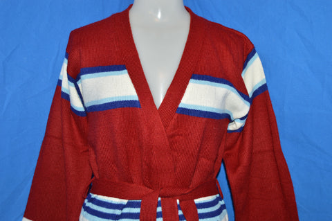70s JC Penney Striped Wrap Cardigan Sweater Women's Small