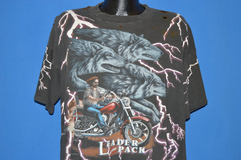 90s American Thunder Leader Of The Pack Motorcycle t-shirt Extra Large