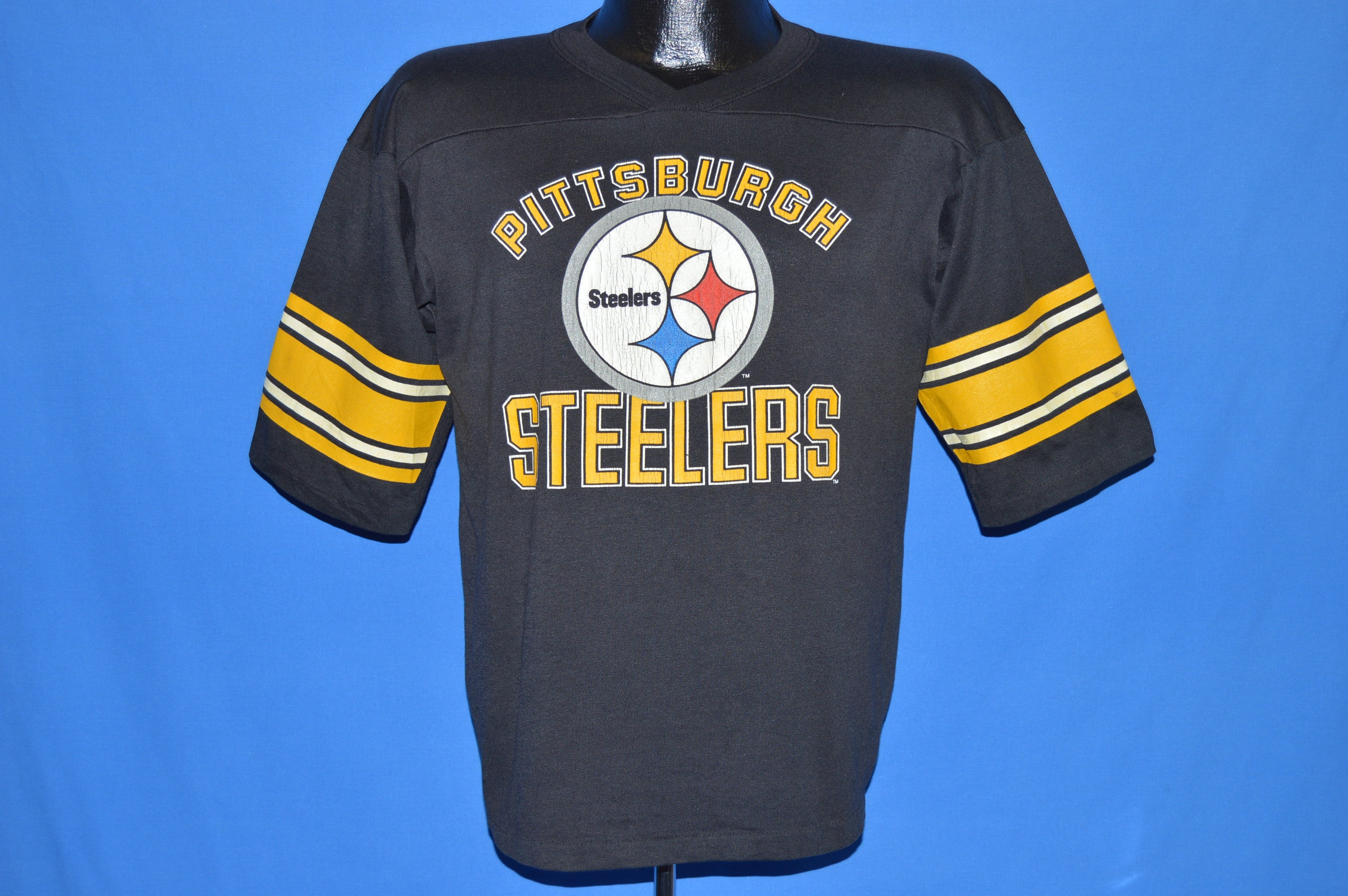 Top 80s Pittsburgh Steelers Striped Jersey t shirt Medium The Captains  hot sale