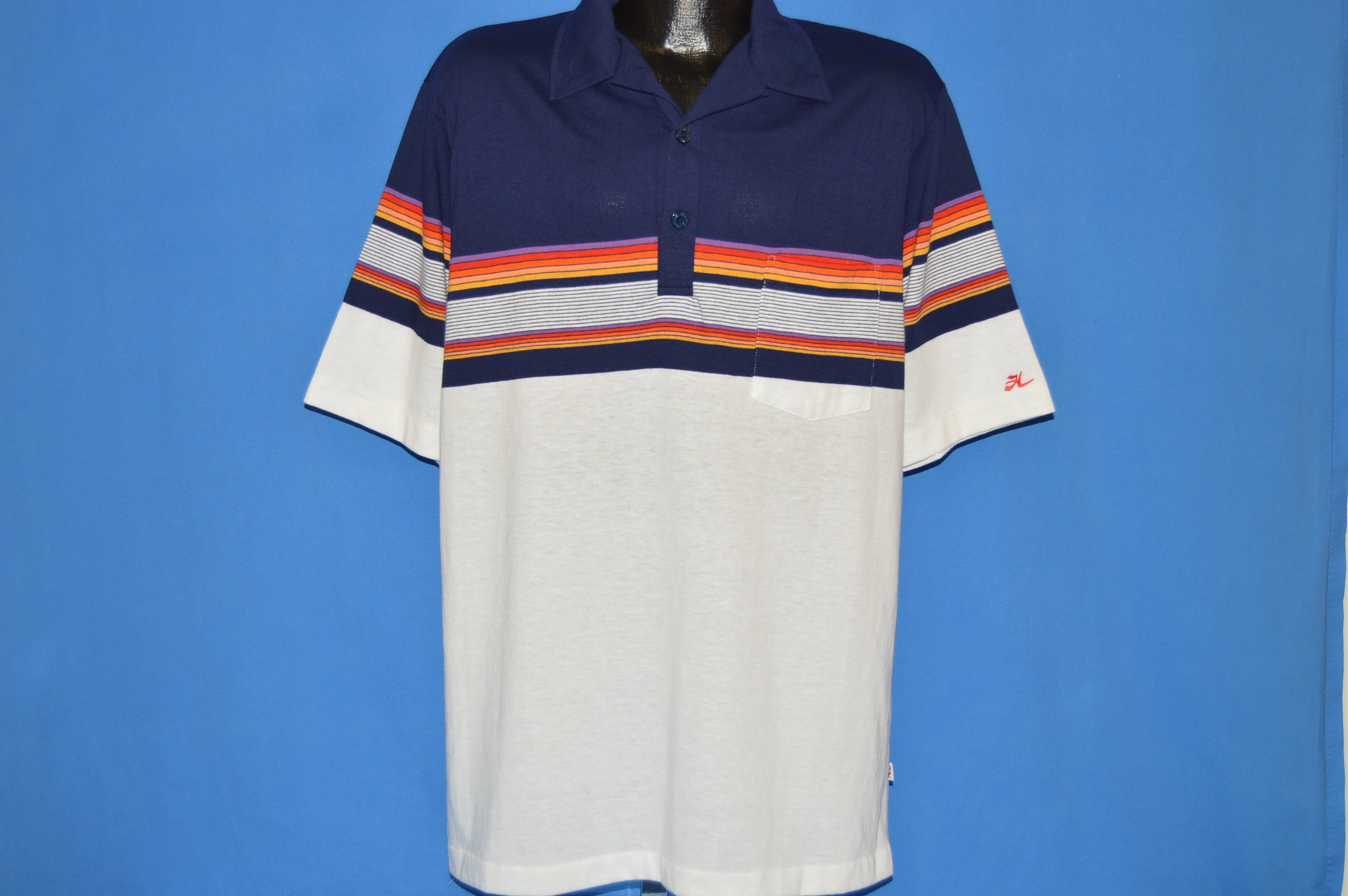 eab78c0e2 80s Hobie Striped Polo shirt Extra Large - The Captains Vintage