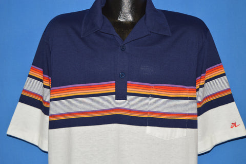 80s Hobie Striped Polo shirt Extra Large