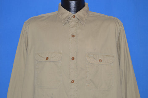 40s Khaki Sanforized Work shirt Large