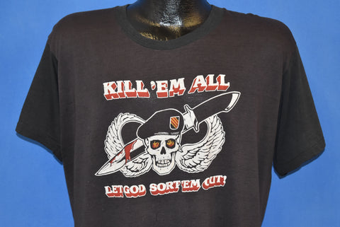 80s Kill Em All Let God Sort Em Out Distressed t-shirt Extra Large