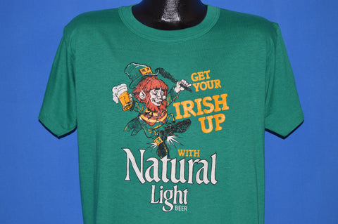 80s Get Your Irish Up Natural Light Beer t-shirt Large