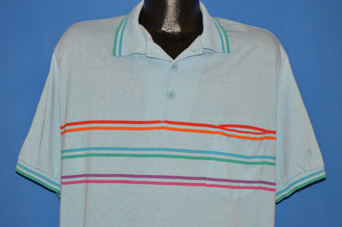 80s Hobie Blue Striped Polo Shirt Extra Large