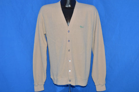 70s Tan Acrylic Cardigan Sweater Large