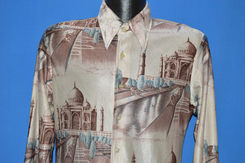 70s Kennington Taj Mahal Print All Over Disco shirt Large